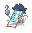 pirate beach chair character cartoon vector image