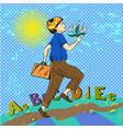 pop art of happy boy running vector image vector image