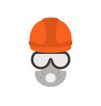 portrait of a man-builder in an equipment a badge vector image vector image