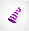 purple birthday hat with stripes texture isolated vector image vector image
