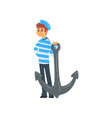 sailor standing with anchor seaman character in vector image