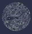 sea ornament in a circle vector image vector image