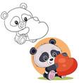 set cute little panda character holding a big vector image vector image