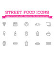 set fastfood fast food elements icons and vector image