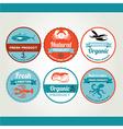 Set of seafood icons crab fish shrimp Retro labels vector image