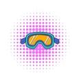 Ski goggles icon comics style vector image