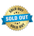 sold out 3d gold badge with blue ribbon vector image vector image
