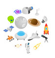space isometric 3d icons vector image vector image