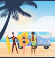surfer people with surfboards on summer sea beach vector image vector image