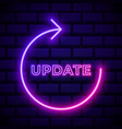 update arrows pink glowing neon ui ux icon vector image