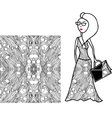 white and black fabric for woman dress vector image