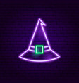 witch hat neon sign vector image vector image