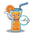 with clock cocktail character cartoon style vector image vector image