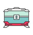 wooden treasure chest color icon vector image
