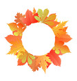 wreath from autumn leaves of maple oak chestnut vector image vector image