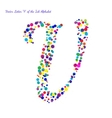 Letter U from Bright Color Ink Blots with vector image