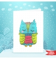Merry Christmas greeting card with an owl vector image