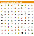100 amusement icons set cartoon style vector image vector image