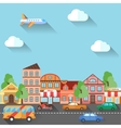 a town street made in flat design vector image vector image