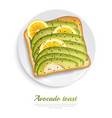 avocado toast realistic design concept vector image vector image