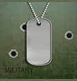 blank metal tags hanging on a chain vector image vector image