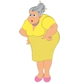 Cartoon old woman in yellow dress vector image vector image