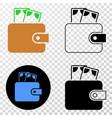 cash purse eps icon with contour version vector image
