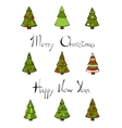 Christmas Trees New Year Lettering vector image vector image