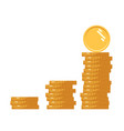 coins icon stack golden coin like income graph vector image vector image