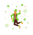 cute cartoon leprechaun dancing vector image vector image