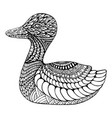 duck coloring page for children and adults vector image