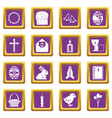 easter items icons set purple vector image vector image