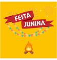 festa junina red ribbon flag fireworks orange whit vector image vector image