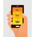 hand holding mobile phone with Diwali offer sale vector image