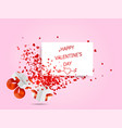 Happy valentines day hearts flying from white box vector image