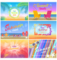 hello summer 2018 sunset beach party summer mood vector image vector image