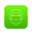 hockey helmet icon green vector image vector image