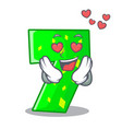 in love cartoon number seven on stone wall vector image vector image