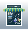 Internet shopping concept smartphone with awning vector image vector image