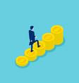 isometric businessman walking on money step vector image vector image