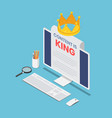 isometric pc monitor with content is king word vector image vector image