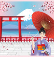 japanese girl with mountain view background vector image vector image