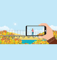 make a photo woman landscape smartphone in vector image