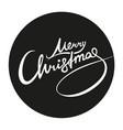 merry christmas lettering white on black sticker vector image