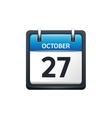 October 27 Calendar icon flat vector image vector image