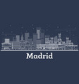 outline madrid spain city skyline with white vector image vector image