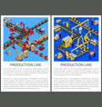 production line posters set vector image