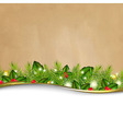 Retro Background And Fir Tree Border And Paper vector image vector image