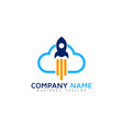 rocket cloud logo icon design vector image