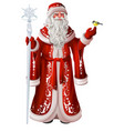 russian santa claus holds staff and tit christmas vector image vector image